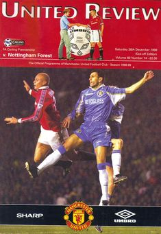 Man Utd 3 Nottm Forest 0 in Dec 1998 at Old Trafford. The programme cover Manchester United Old Trafford, Manchester United Football, Man Utd Crest, Number 14, Nottingham Forest, Football Program, Man United, Kicks, The Unit