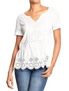 Womens Eyelet Peplum Tops...this can go with so many cute bottoms...navy pants, jeans, and it's shape naturally draws your attention to the top and covers up any extra you may have near your tummy.