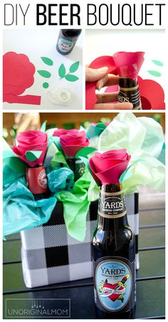 DIY Beer Bouquet as an anniversary gift or Valentine's gift for your man! gift for girls Beer Bouquet Tutorial - Beer Gift Idea for Men! Diy Father's Day Gifts, Diy Holiday Gifts, Father's Day Diy, Christmas Gifts For Mom, Beer Bouquet, Man Bouquet, Bouquet For Men, Valentines Gifts For Boyfriend, Boyfriend Gifts