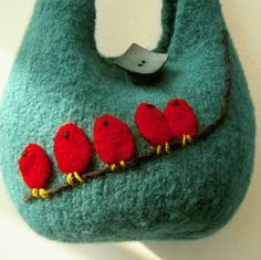 felted green bag with red birds