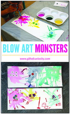 Blow Art Monsters - Gift of Curiosity - Blow Art Monsters: a fun, multi-media, process-oriented, engaging art activity for kids Preschool Art Projects, Preschool Art Activities, Toddler Activities, Preschool Kindergarten, Creative Activities For Kids, Art Activities For Kindergarten, Art Projects For Toddlers, Process Art Preschool, Summer Art Activities