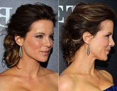 "Yes, you can have fun with shoulder-length hair—especially if you go edgy-chic like Kate. To get this look, curl all of your hair with a curling iron and shake it out for extra texture. Back-comb the top to add height, and softly pin the front and back sides. ""If you end up with too much length in the back, you can twist a little bit of hair up while still letting some pieces hang,"" says Perez. - Redbook.com"