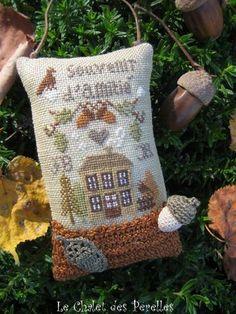 Cross stitch Autumn acorn tiny pillow ornament