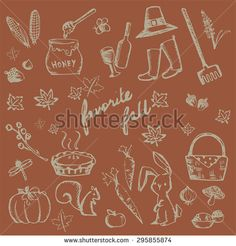 Autumn holiday doodle forest food ingredient, animal, gardening tool and nature object icon collection set in brown background, create by vector