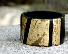 Big black and gold hand painted wood bangle by LesBijouxDeMarie