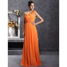 Floor-length+Chiffon+Bridesmaid+Dress+-+Orange+Plus+Sizes+/+Petite+Sheath/Column+One+Shoulder+–+USD+$+69.99