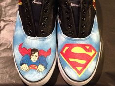 Superman Custom painted Shoes - pinned by pin4etsy.com