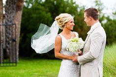 Bride and groom ocean side at Villa de Suenos, St. Simon's Island, GA