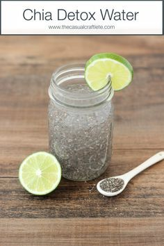 Get healthy and consume more water by drinking this Chia Detox Water with a hint of lime!