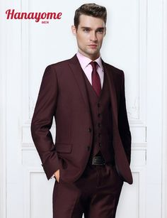 e798a6aa282 Best Quality In 2016 The Most Handsome Man Leisure Suit Three Piece Fashion  Two Grain Of Buckle Wine Red Suit Elegant Pure Color Fashion Men Suits At  Cheap ...