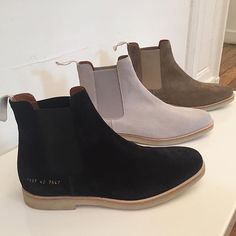 """Preview of #CommonProjects SS 17 Suede Chelsea Boots in new colorways."" @upscalehype"