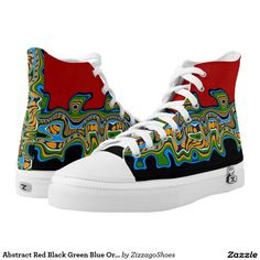 Abstract Red Black Green Blue Orange Zizzago Printed Shoes