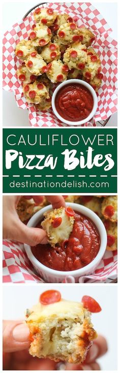 Cauliflower Pizza Bites | Destination Delish - Cauliflower crust pizza made into mini bites with a cheesy surprise in the middle. It's an appetizer the whole family will love!