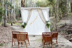 Ceremony with vintage wooden folding chairs