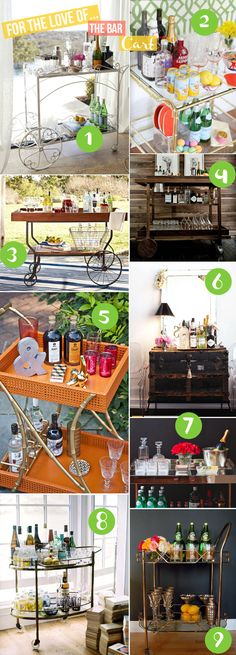 I was so set on using an old wooden cart I have as a bar cart. I love them, they're so festive and fun that I even bought pretty glasses. Then it occurred to me that we drink wine and beer and little else. So I think it will become an herb garden and maybe a bar cart for guests. :)
