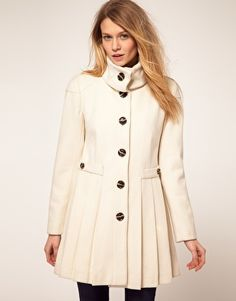 ASOS pleated coat with fold over collar - asos.com
