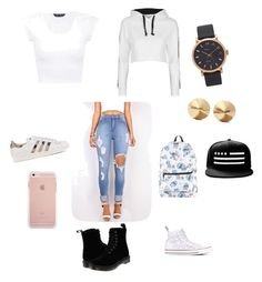 """""""Day at school"""" by sasaqgrant on Polyvore featuring Topshop, Converse, Dr. Martens, adidas Originals, Marc Jacobs, Eddie Borgo and Disney"""