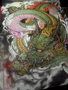Tattoo Flash on Behance Dragon Head Tattoo, Asian Dragon Tattoo, Dragon Tattoo Designs, Japanese Tattoo Art, Japanese Sleeve Tattoos, Japanese Art, Japan Tattoo Design, Tiger Tattoo Design, Chinese Dragon Art