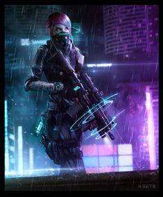 CYBERPUNK PMC (Shadowrun Decker Girl), Phelan A. Davion on ArtStation at https://www.artstation.com/artwork/QGw5E