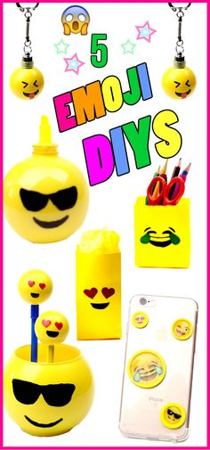 5 simple diy emoji projects for kids that are fun and exciting. Keychains, emoji phone cases, school supplies and more...