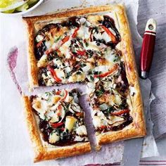 Goat's cheese and red pepper tart with chicory Recipe   delicious. Magazine free recipes