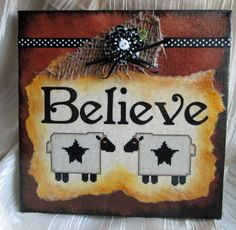 Sheep Believe Mixed Media Canvas by CrowCrossroads on Etsy, $49.00