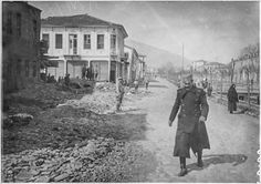 In the streets of Bitola (Monastir) (March 1917). Damage along the Dragor River