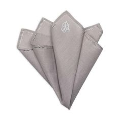 Personalised Grey Cotton Pocket Square Fashion Suits, Pocket Squares, Egyptian Cotton, Hand Sewing, Monogram, Grey, Gray, Sewing By Hand, Pocket Handkerchief