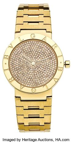 Timepieces:Wristwatch, Bvlgari Men's Diamond Dial, Gold Integral Bracelet Wristwatch,circa 1990. ...