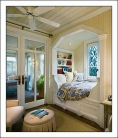 Bed in a window seat