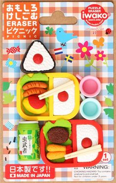 Picnic food Iwako erasers set 8 pieces from Japan