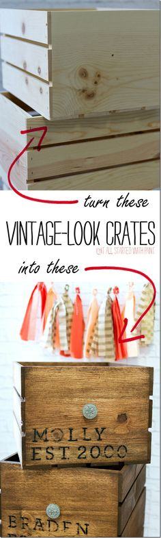 Vintage Look Crate DIY: Turn New Crates Into Vintage Look Crates with Stain, Stencils & Sandpaper