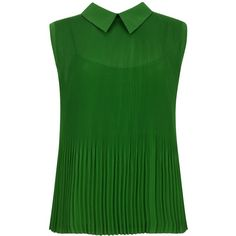 Ted Baker Dantea Pleated Top, Dark Green (4.405 RUB) ❤ liked on Polyvore featuring tops, blouses, blusa, shirts, tanks, lining shirts, sleeveless collared shirt, sleeveless shirts, dark green tank top and collared shirt