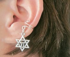 Non Pierced Magen David Ear Cuff 1 Cuff - Silver Tone Star of David Jewish Judaica