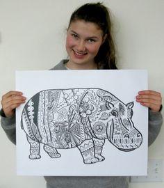 New HUGE HIPPO PRINT Drawing/illustration has by HuskidoStudios, $24.99