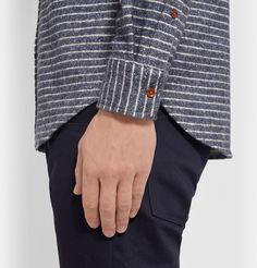 Club Monaco - Striped Button-Down Collar Flannel Shirt   MR PORTER