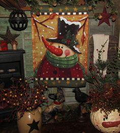 Primitive Antique Vtg Style Christmas Winter Snowman Garden Flag Sign Decoration #NaivePrimitive