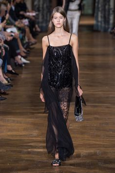 black, dress, black dress, long dress, sleeveless, evening, red carpet, lace, silk, embroidery, beading, embellishment, sequin, transparent, sheer, boudoir