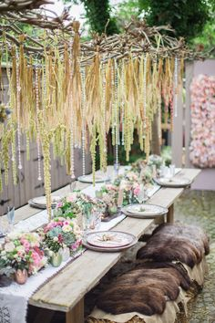 Unique outdoor hanging wedding reception installation | Cecelina Photography