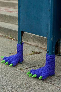 Slow Art Day — Monster feet crochet bombs in San Mateo,. Graffiti, Guerilla Knitting, Cotton Cord, Crochet Monsters, Crochet Art, Knitting Yarn, Art Day, Textile Art, Fiber Art