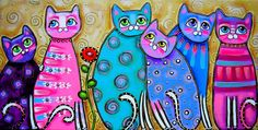 Abstract Cat Art | ... Cats With Flower Painting - Colorful Cats With Flower Fine Art Print