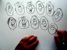 Beginner: Drawing cartoon happy faces.