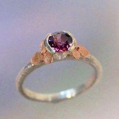 Garnet Ring, 14k Rose Gold Hydrangea Flowers, Rhodolite Garnet Gemstone Ring, January Birthstone, Sterling Flower Ring, Made to order by PatrickIrlaJewelry on Etsy https://www.etsy.com/listing/229635129/garnet-ring-14k-rose-gold-hydrangea