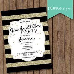 Graduation Party Invitation, Graduation Invitation, Gold Stipes, Graduation Invite,Striped Invitation