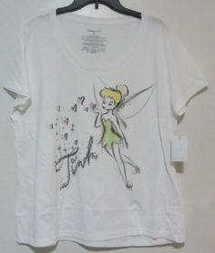 e1f00246e4c NWT Disney Store Womens Tinkerbell with Hearts White T-shirt 2XL   DisneyStore  GraphicTee