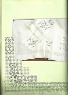 "Photo from album ""Вязание on Yandex. Cross Stitch Borders, Crochet Borders, Filet Crochet, Crochet Patterns, Crochet Dollies, Hairpin Lace, Patch Aplique, Cross Stitch Embroidery, Handicraft"
