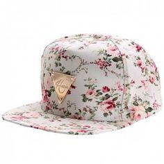 Modaling Moda floral flor Snapback Hip-Hop Gorra Plana enarbolado ajustable gorra de béisbol blanca