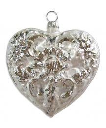 "Large Matte White & Silver Blown Glass Heart Ornament ~ Germany ~ 3"" tall"