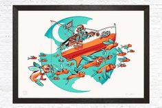 """Davy Jones"", a limited edition illustration designed by David Sossella for GustoRobusto.com"