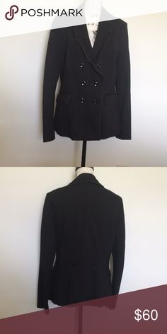 🐚FLASH SALE🐚White House Black Market Coat 14 Black and edgy coat from White House Black Market! Super cute. Material is 70% Viscose, 25% Nylon and 5% spandex! In great condition size 14! White House Black Market Jackets & Coats